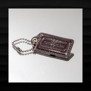 2.5″ Large COACH BROWN PATENT LEATHER KEY FOB